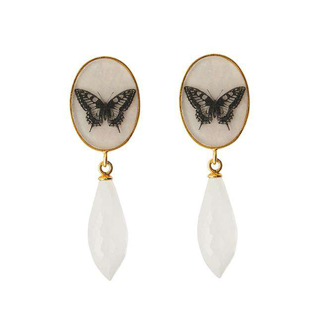 The Butterfly Droplet Earrings - Gold - Milky Quartz