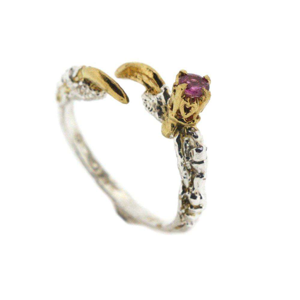 Single Claw with a Ruby Ring