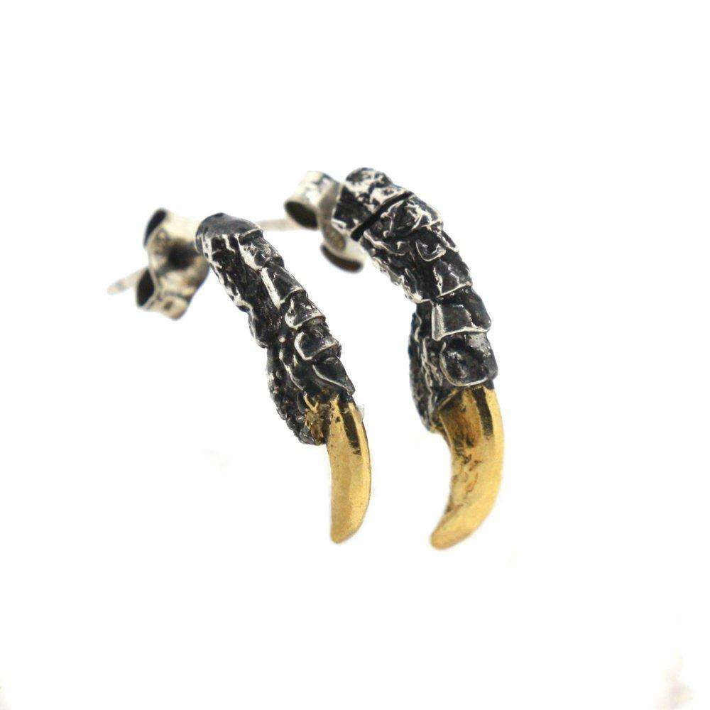 Oxidised Pigeon Claw Studs with Gold Nails