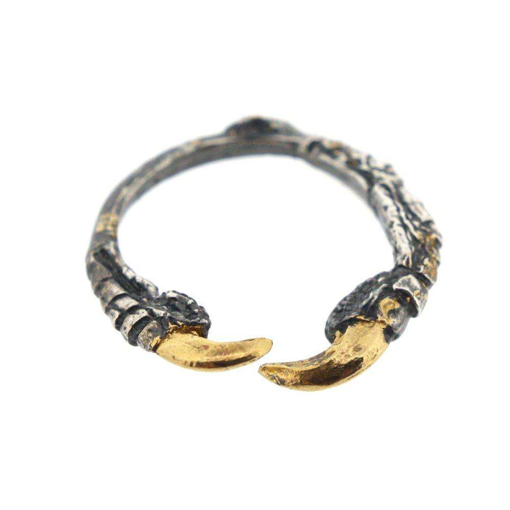 Oxidised Single Claw Ring with Gold Nails