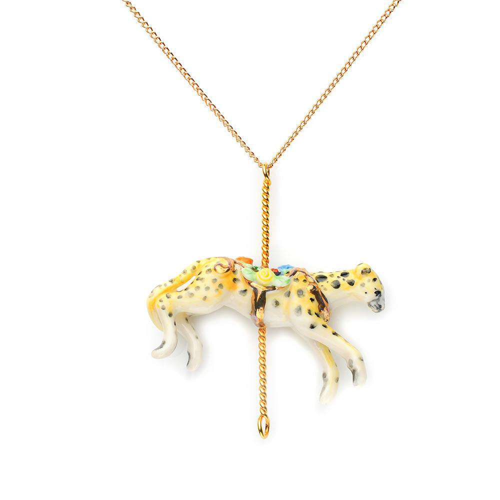 Merry Go Round Porcelain Cheetah Pendant And Gold Plated Necklace
