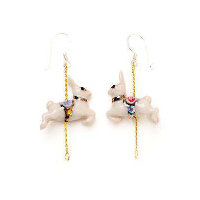 Merry Go Round Porcelain Rabbit Drop Earrings
