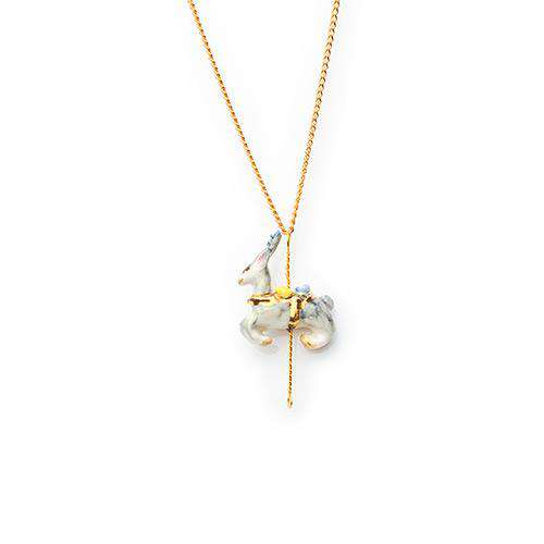 Merry Go Round Porcelain Small Deer Pendant and Gold Plated Necklace