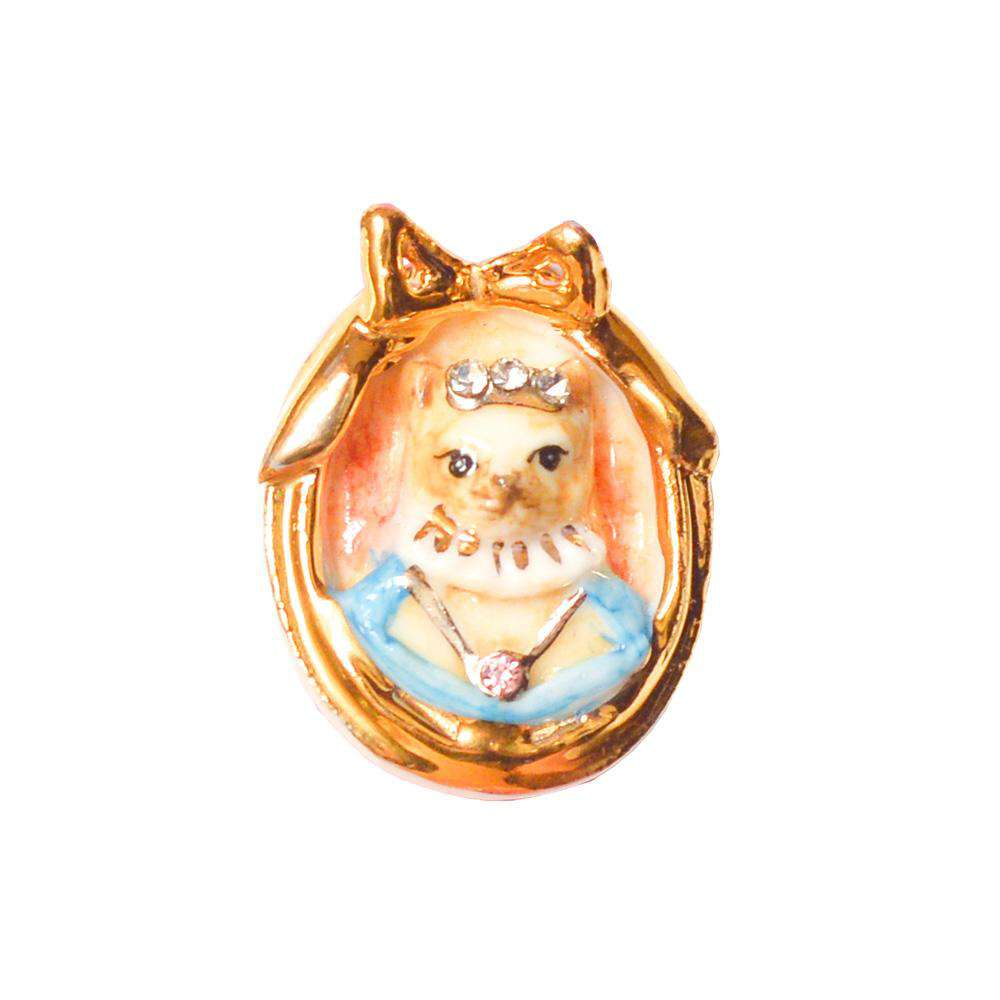 Small Porcelain Cat Cameo Brooch