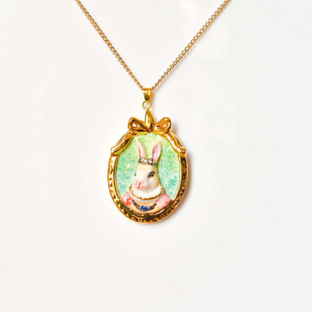 Porcelain Rabbit Cameo Necklace