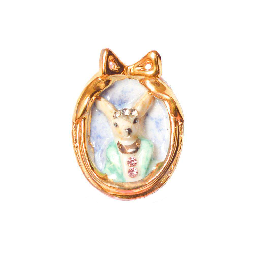 Porcelain Chihuahua Dog Cameo Necklace