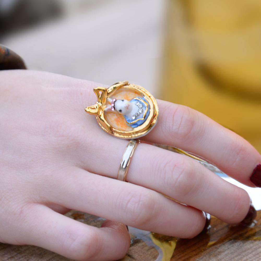 Porcelain Rabbit Cameo Ring