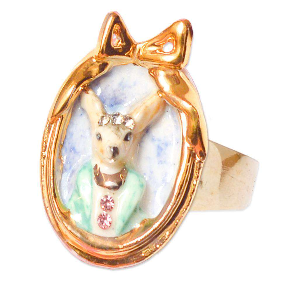 Porcelain Chihuahua Dog Cameo Ring