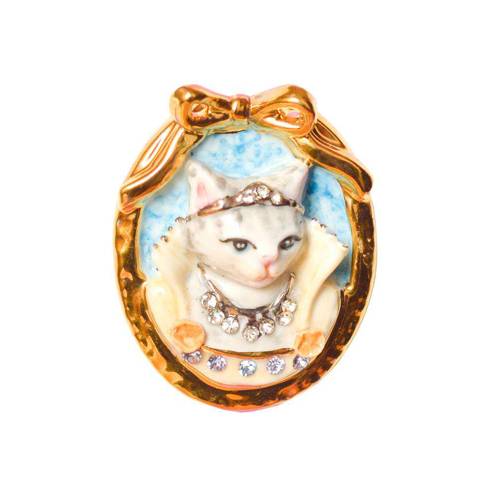 Porcelain Cat Cameo Brooch