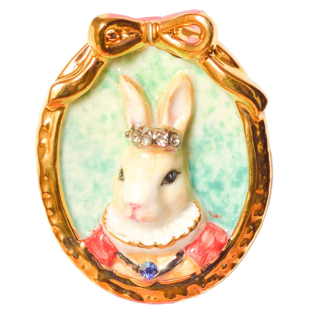 Porcelain Rabbit Cameo Brooch