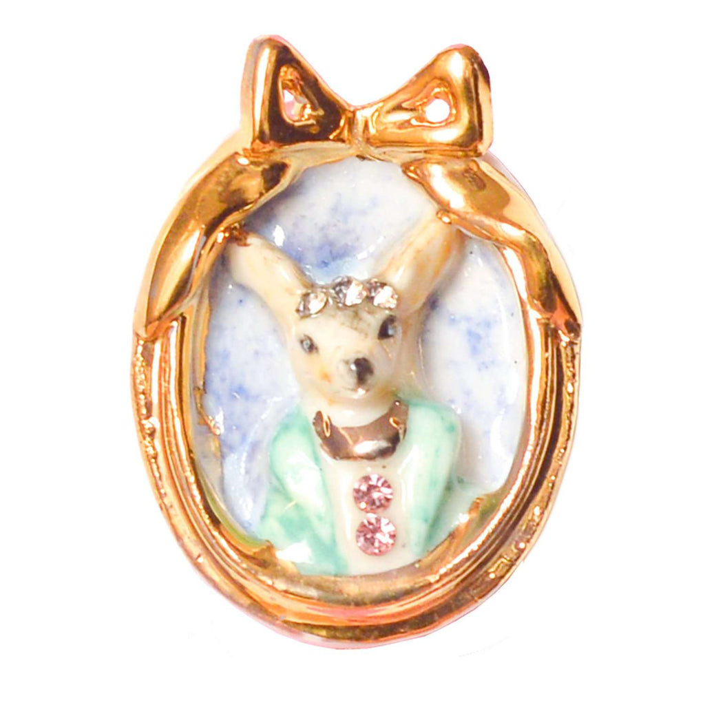 Small Porcelain Chihuahua Dog Cameo Brooch