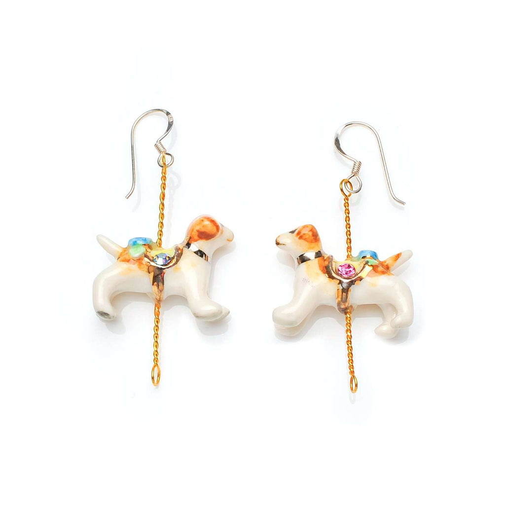 Merry Go Round Porcelain Dog Drop Earrings