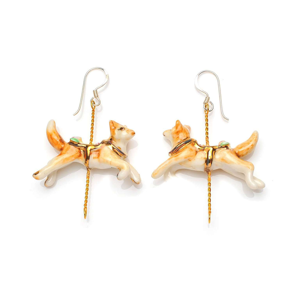 Merry Go Round Porcelain Fox Drop Earrings