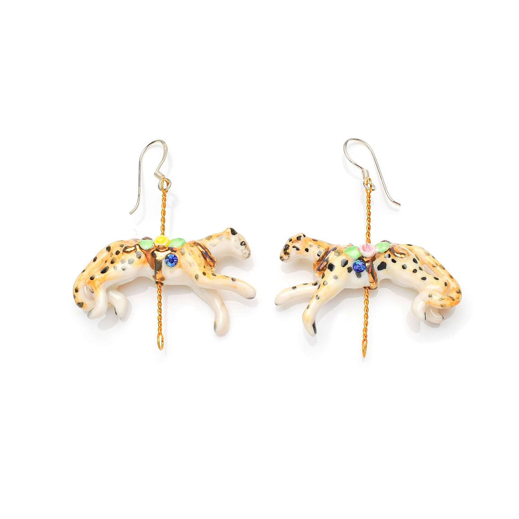 Merry Go Round Porcelain Cheetah Drop Earrings