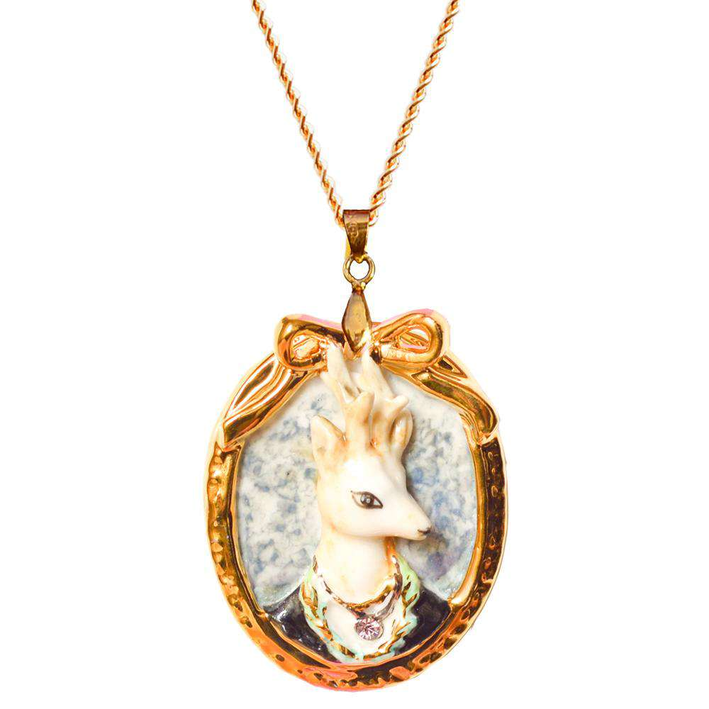 Porcelain Deer Cameo Necklace