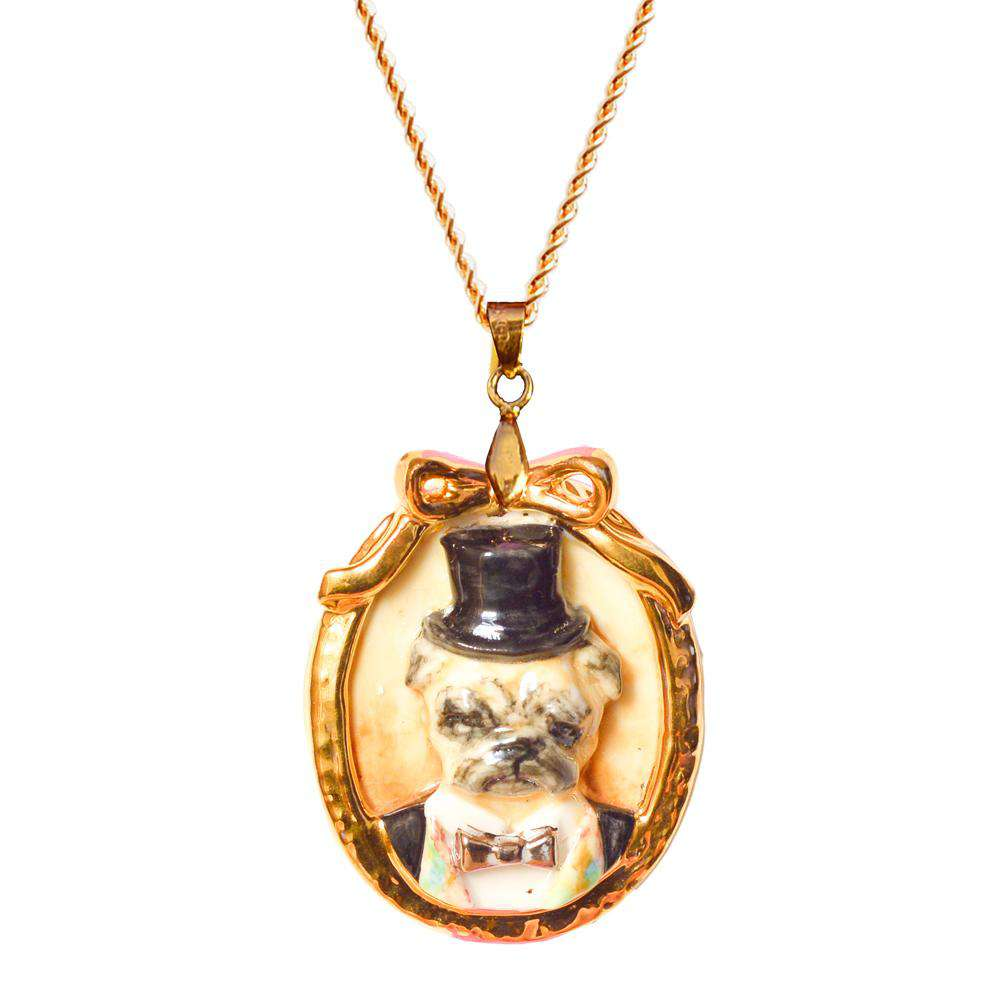 Porcelain Pug Dog Cameo Necklace