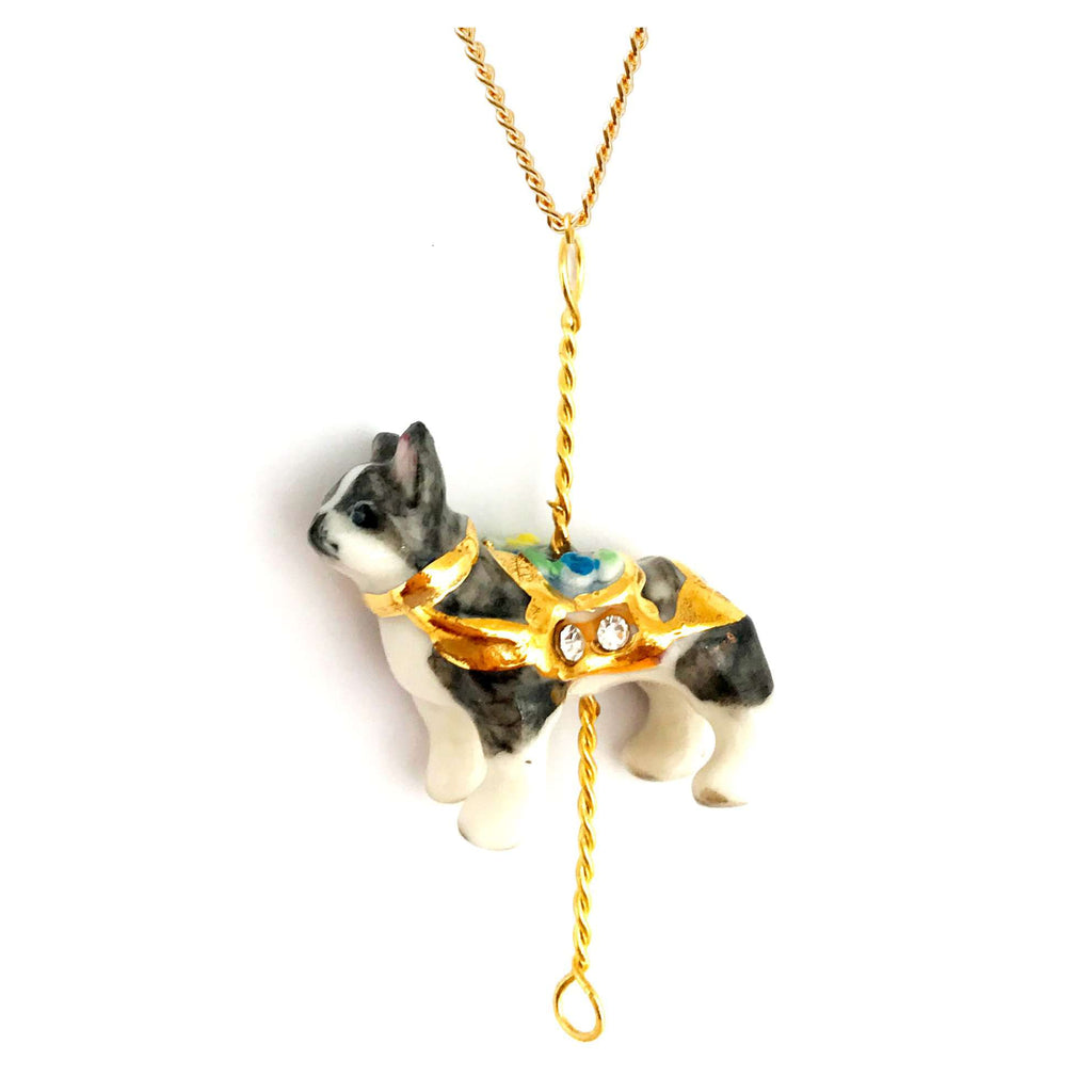 Merry Go Round Porcelain Small French Bulldog Pendant and Gold Plated Necklace