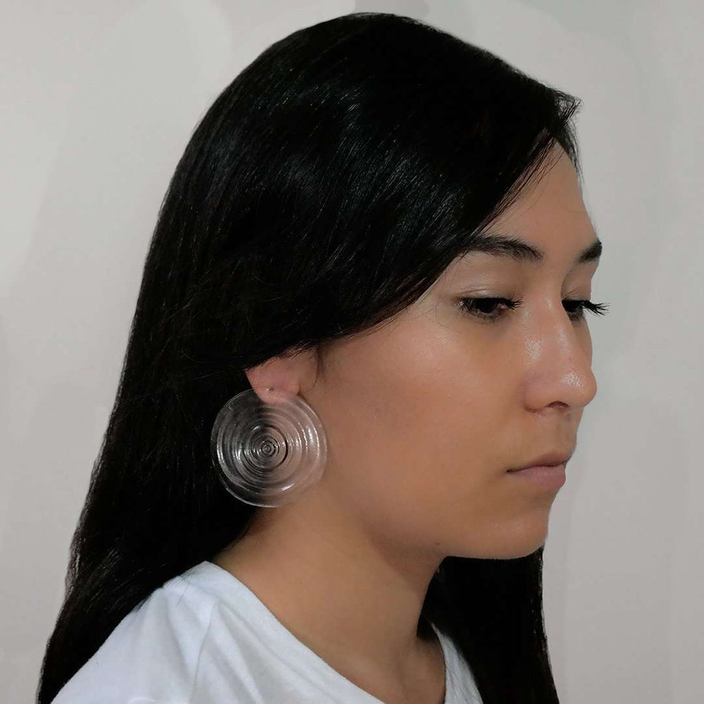 Full Ripples Clear Earrings