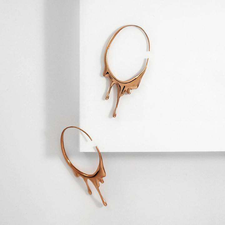 Dripping Circular | Rose Gold | Earrings