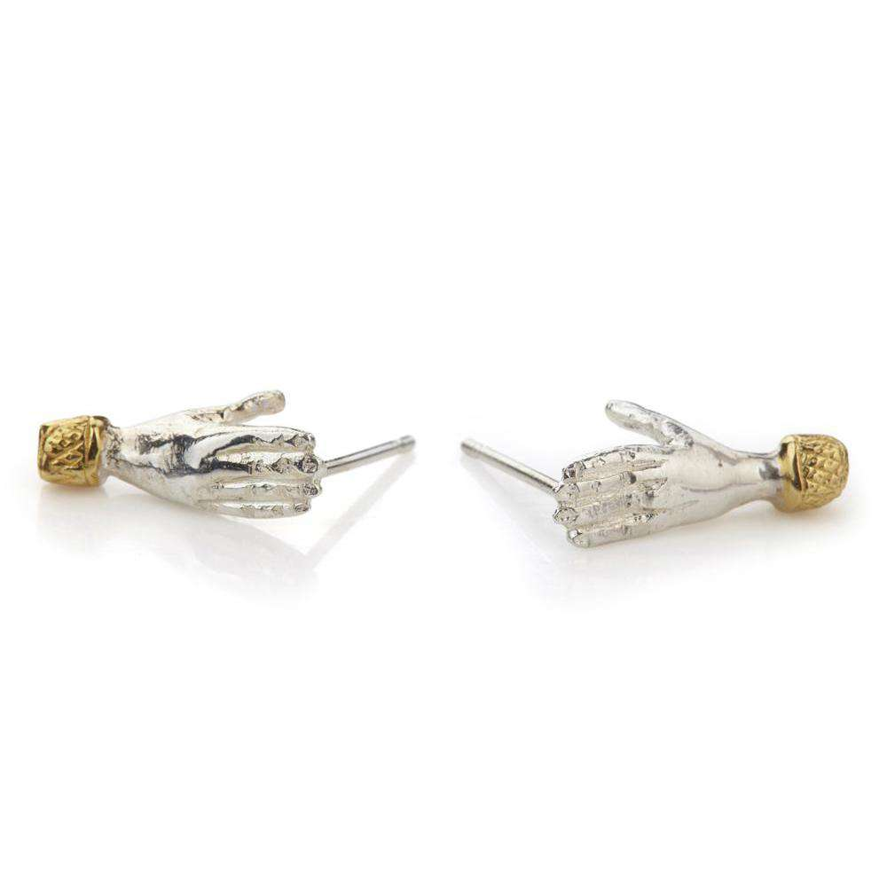 Holding Hands Studs with or without a diamond