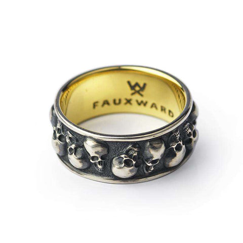Faceted Skull Ring Gold