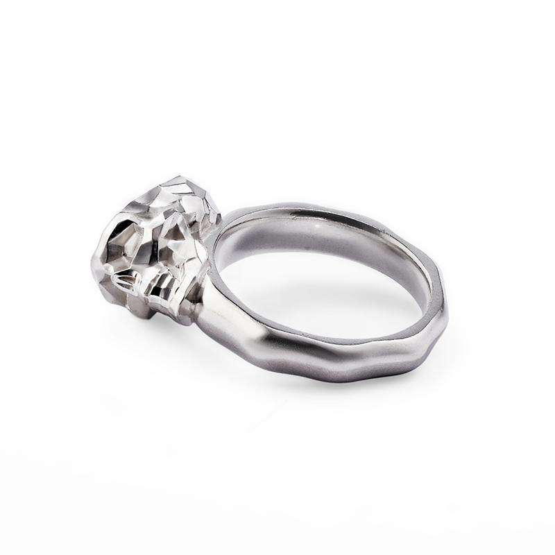 Faceted Skull Ring Silver