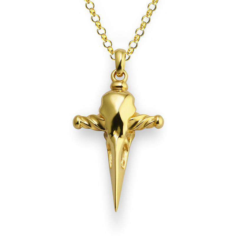 Raven Skull Dagger Necklace - Gold