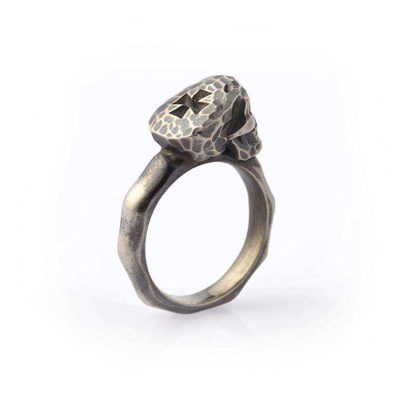 Faceted Skull Ring Oxidised Silver