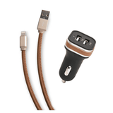Leather Wrapped Car Charger and Cable Bundle in Tan