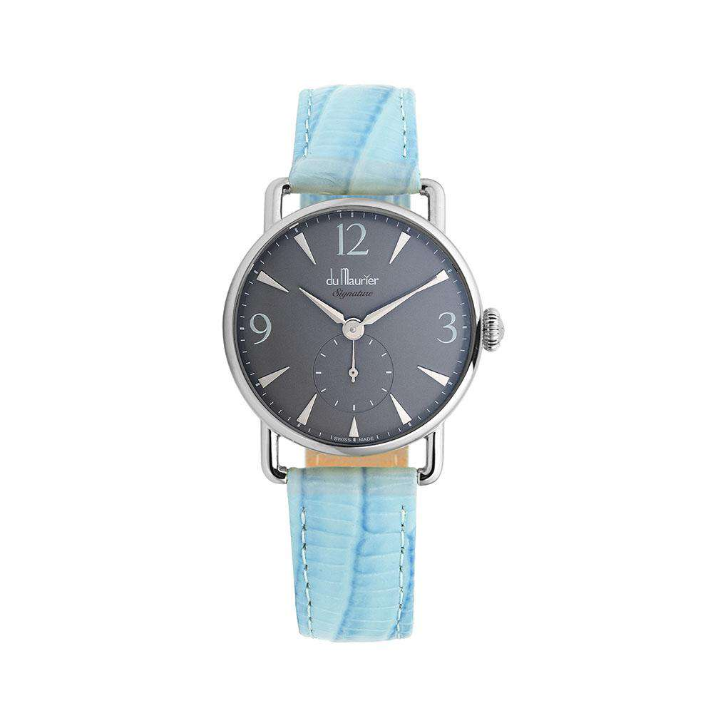 Daphne Signature Silver GD with Pastel Blue Leather Strap