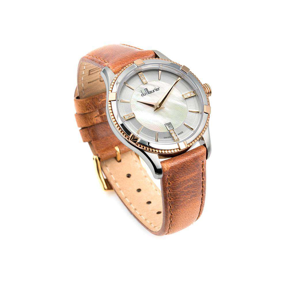 Rebecca Ladies Watch with Rose Gold, Mother of Pearl and Diamonds and Camel Leather Strap