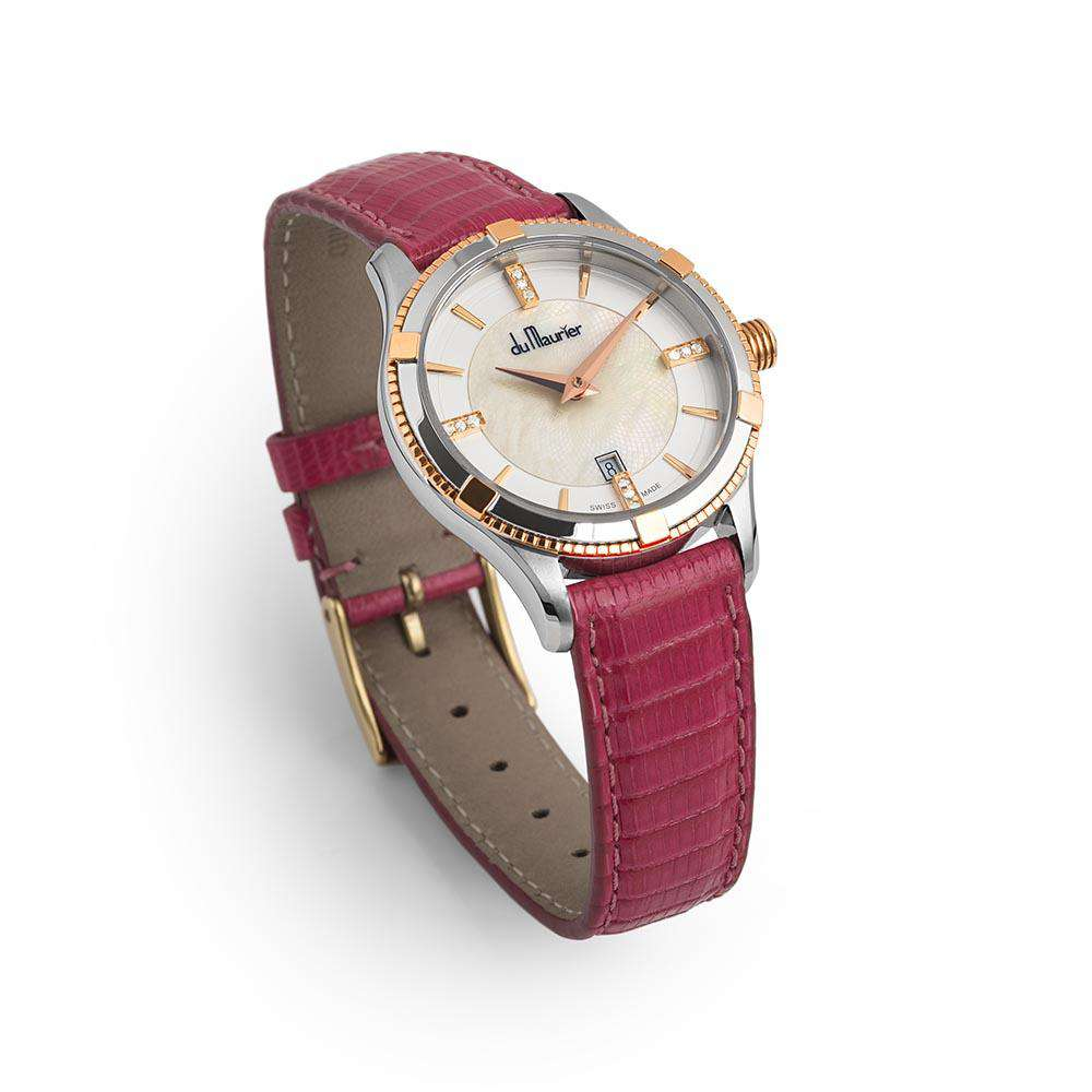 Rebecca Ladies Watch with Rose Gold, Mother of Pearl and Diamonds with Hot Pink Lizard Strap