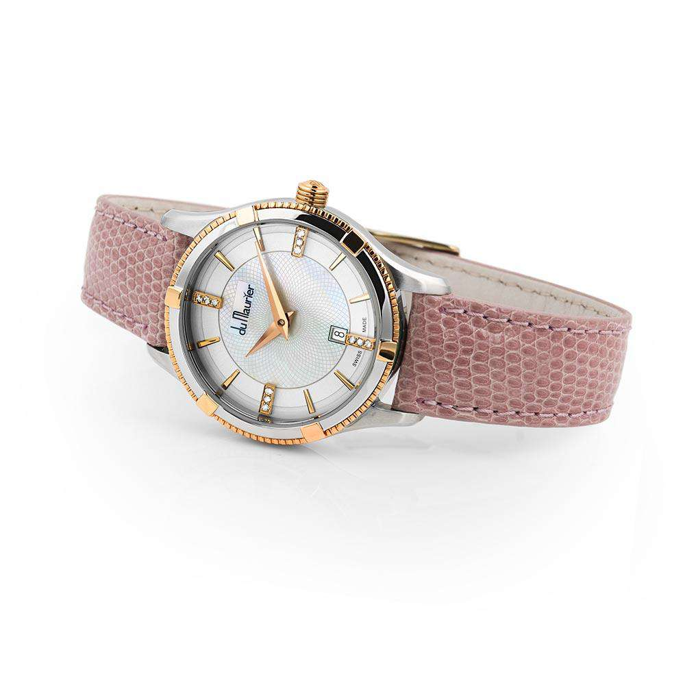 Rebecca Ladies Watch with Rose Gold, Mother of Pearl and Diamonds with Pale Pink Lizard Strap