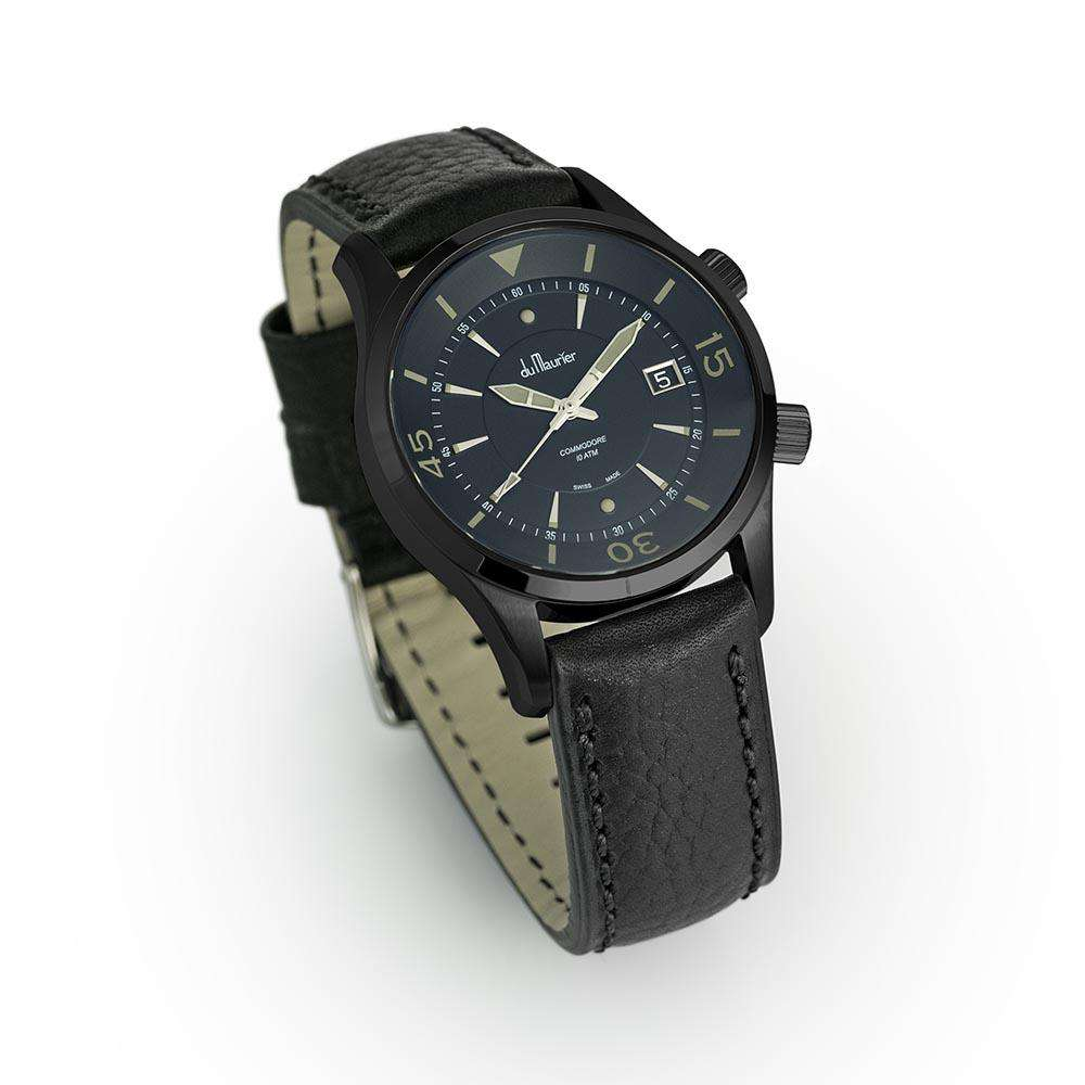 Commodore Black SE with Black Water Resistant Leather Strap
