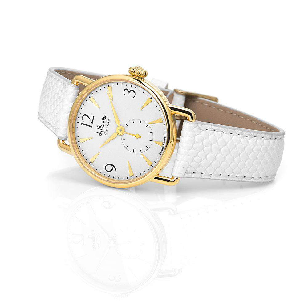 Daphne Signature Gold SD with White Lizard Strap
