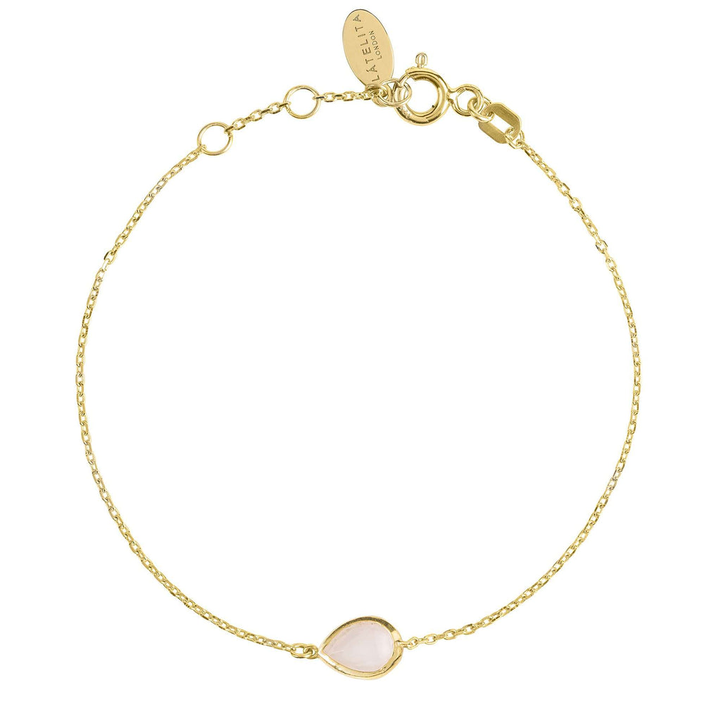 Pisa Mini Teardrop Bracelet Gold Rose Quartz