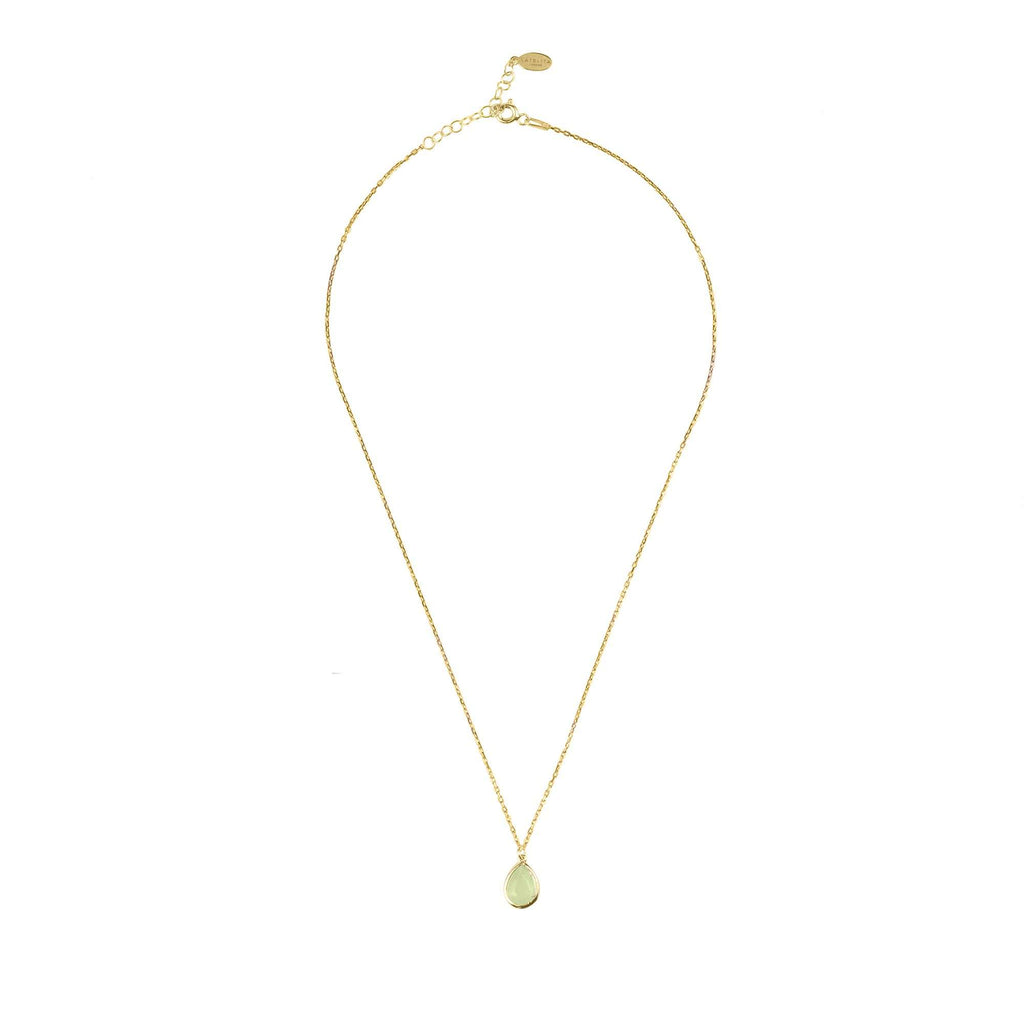Pisa Mini Teardrop Necklace Gold Aqua Chalcedony