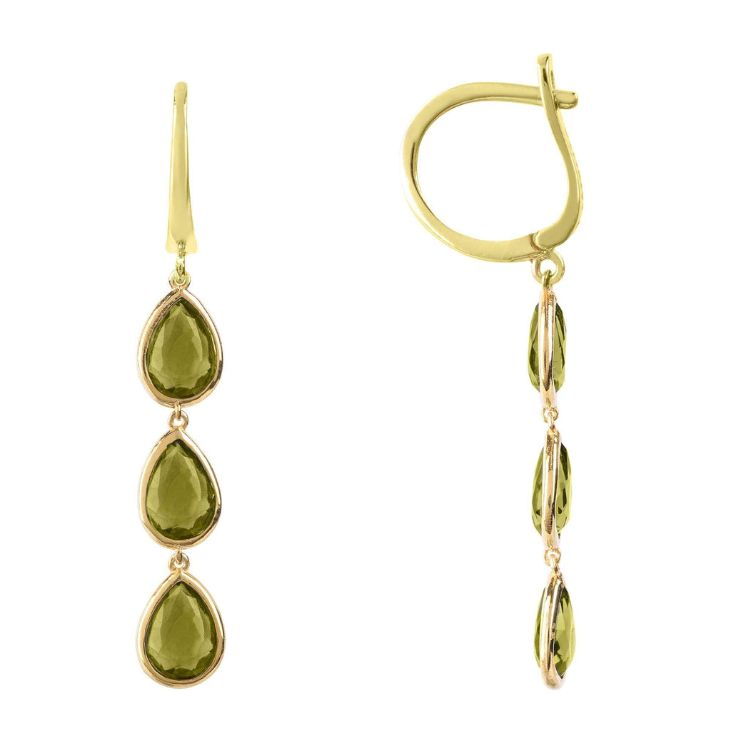 Sorrento Triple Drop Earring Gold Peridot