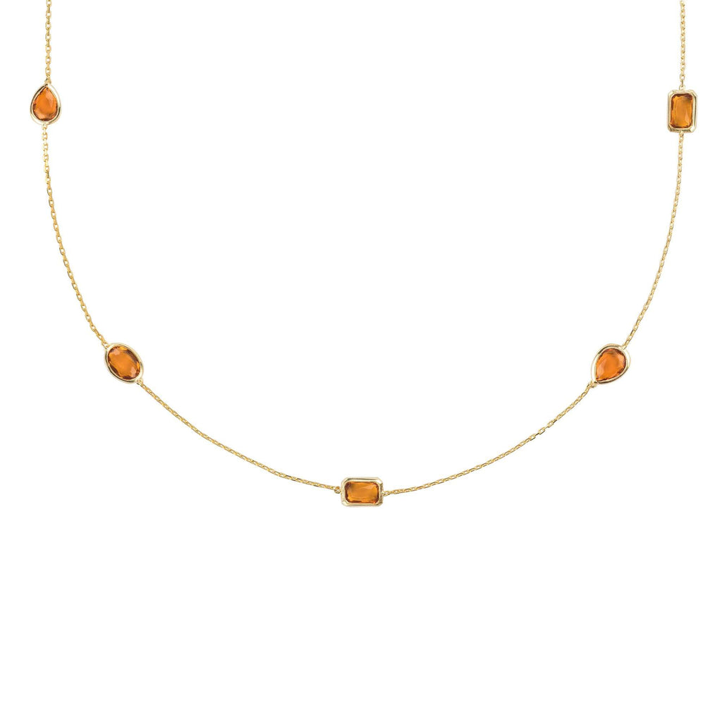 Venice 120cm Long Chain Necklace Gold Citrine