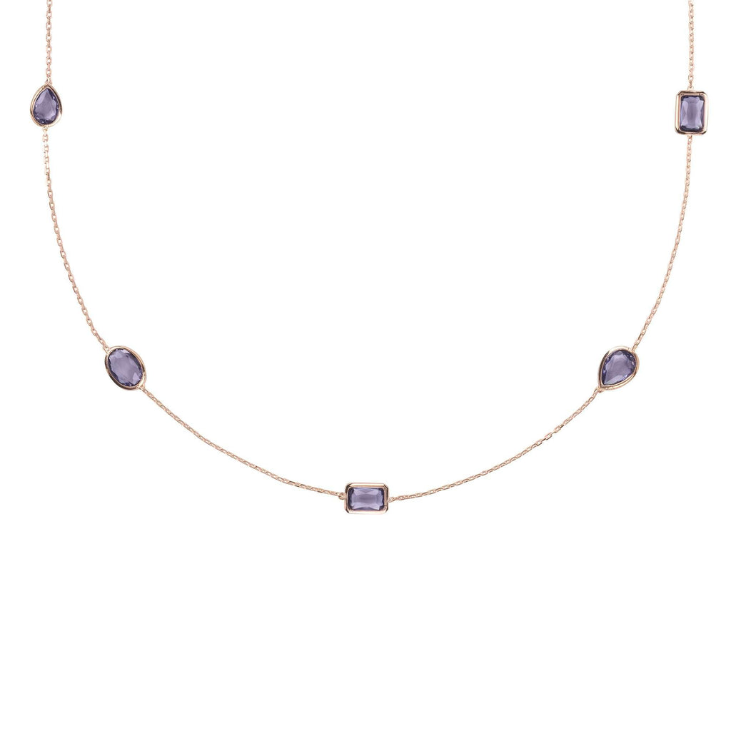 Venice 120cm Long Chain Necklace Rosegold Amethyst