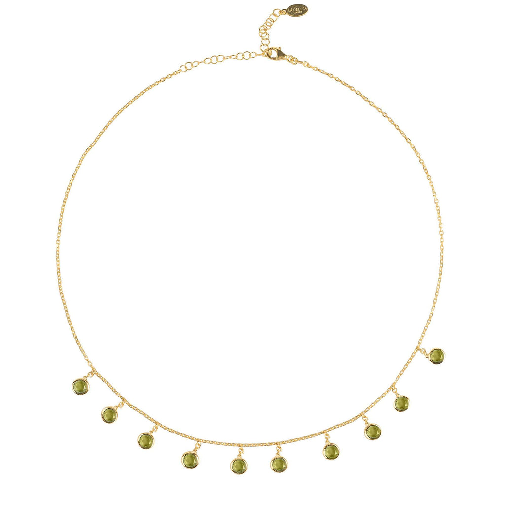 Florence Round Gemstone Necklace Gold Peridot