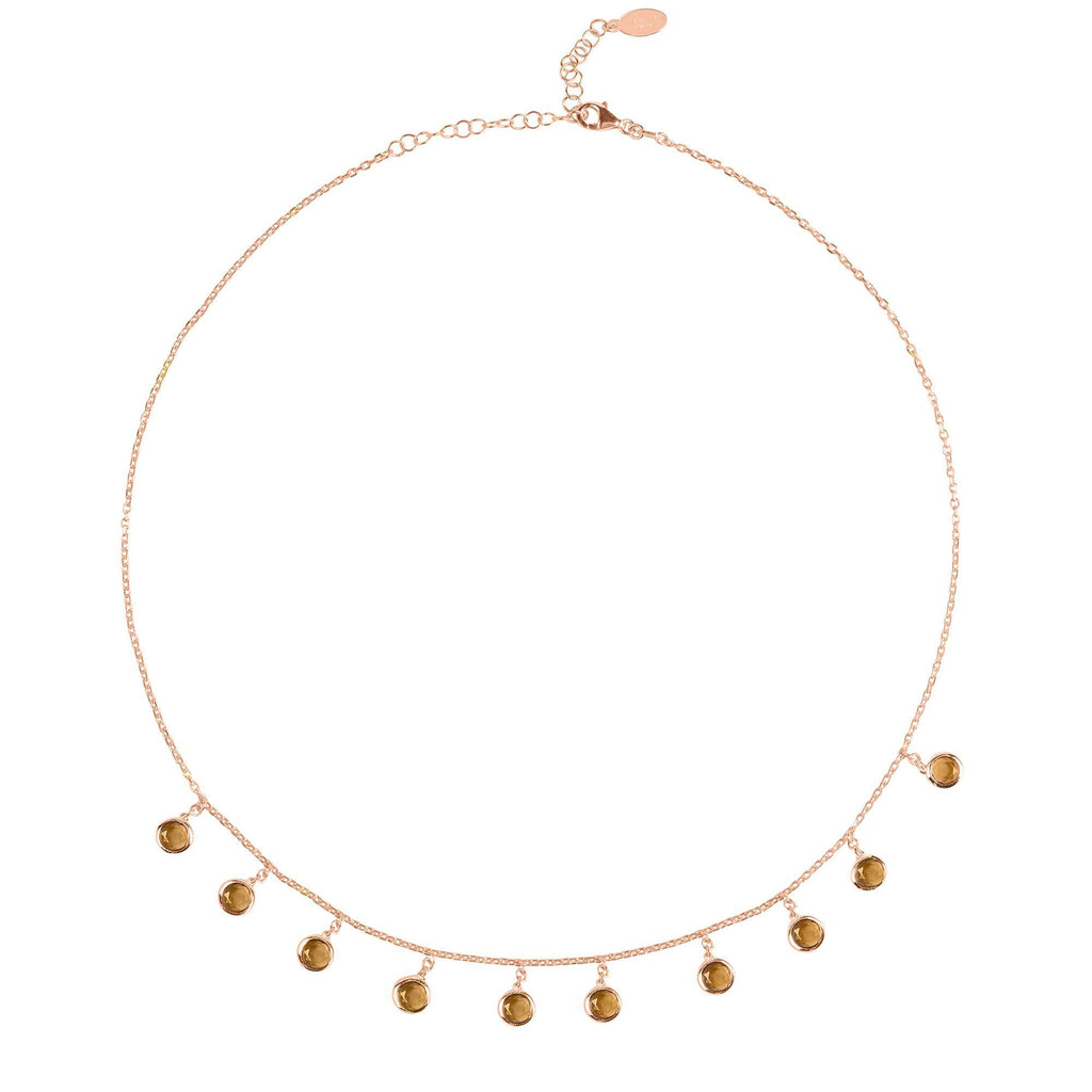Florence Round Gemstone Necklace Rosegold Smokey Quartz