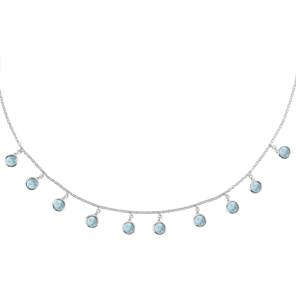 Florence Round Gemstone Necklace Silver Blue Topaz