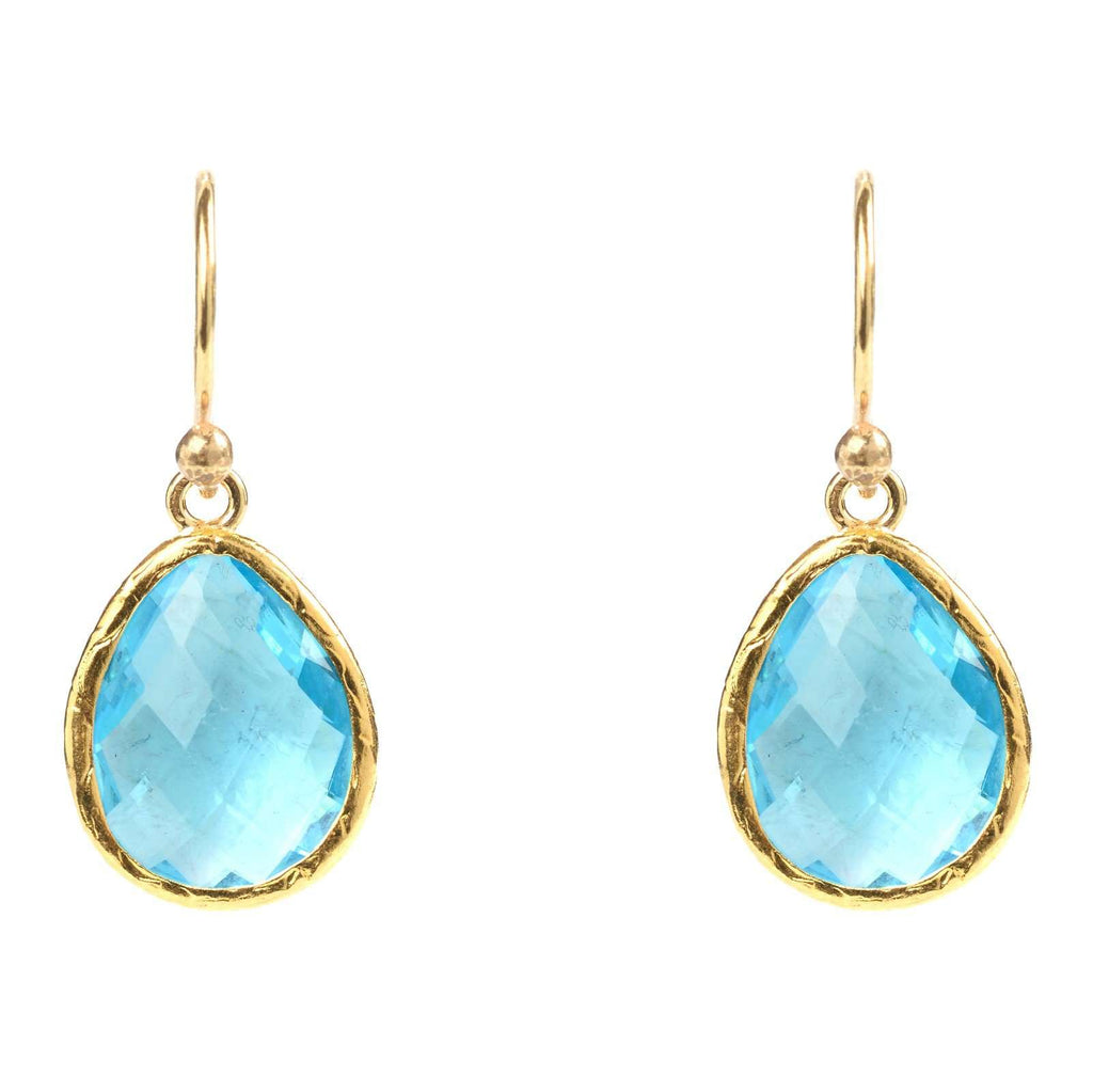 Gold Petite Drop Earring Blue Topaz Hydro