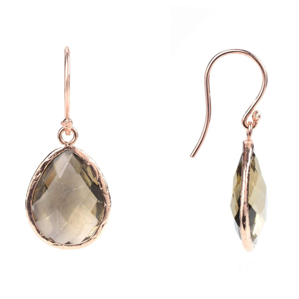 Rosegold Petite Drop Earring Smokey Quartz