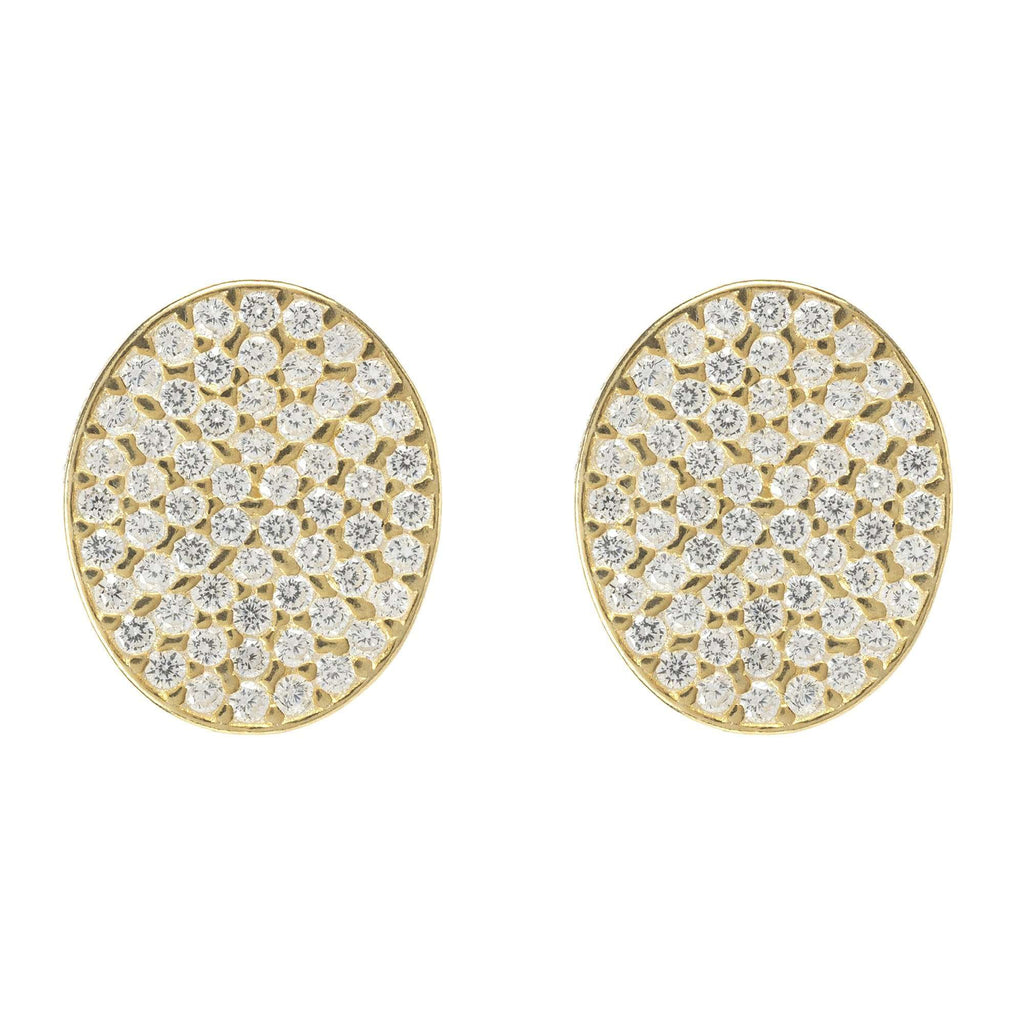 Oval disc Gold Earring
