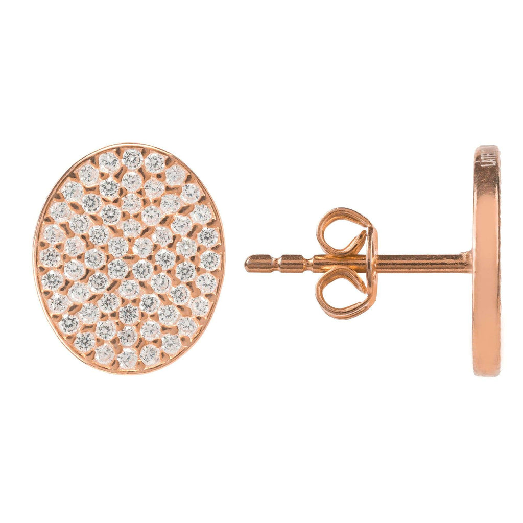 Oval disc Rosegold Earring
