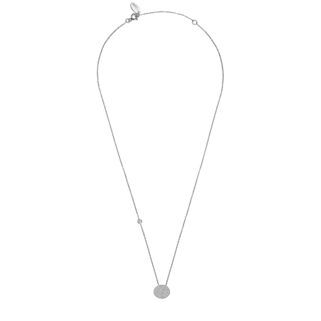 Oval Disc Necklace Silver