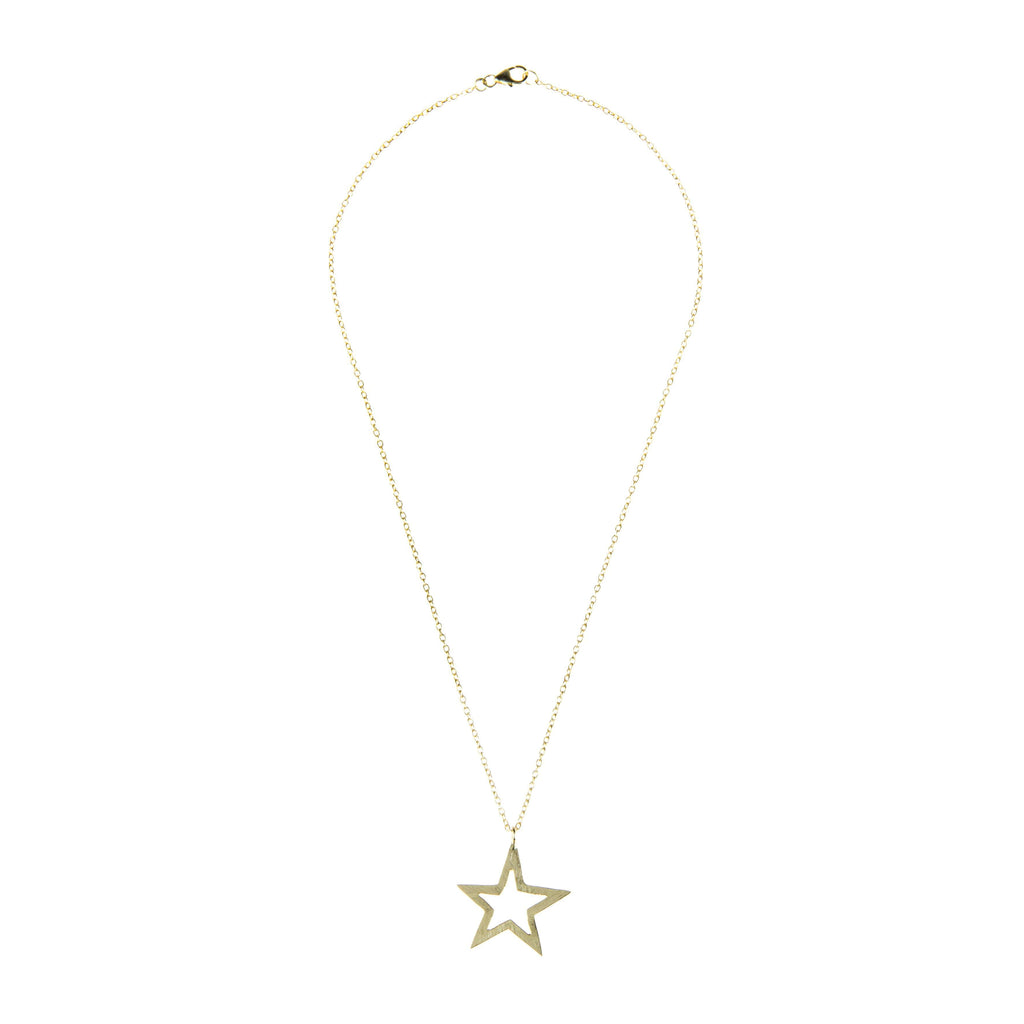 Cosmic Open Star Necklace Gold