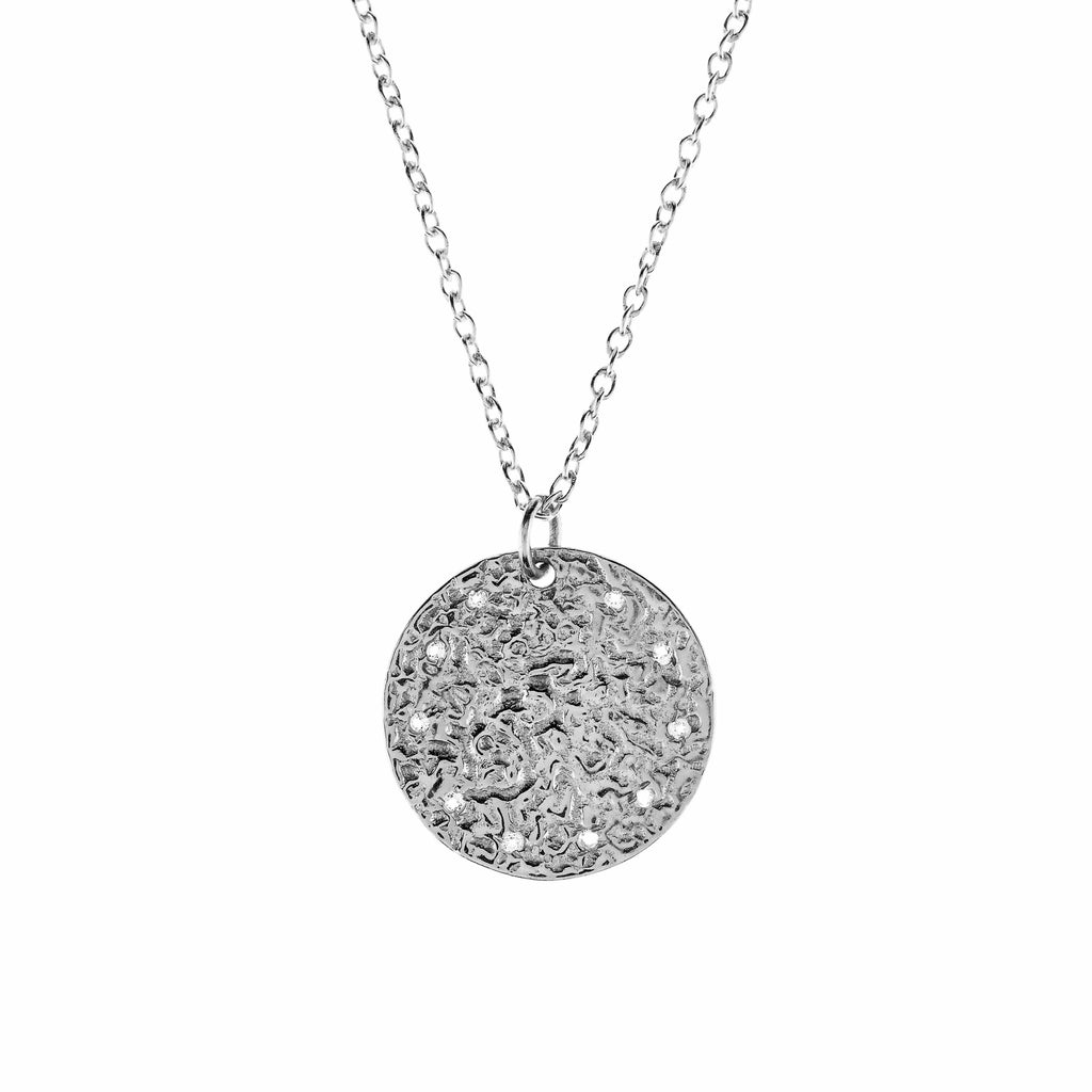 Full Moon Necklace - White Topaz Silver